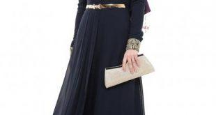 صورة تنسيق فستان اسود طويل , افضل موديلات باللون الاسود