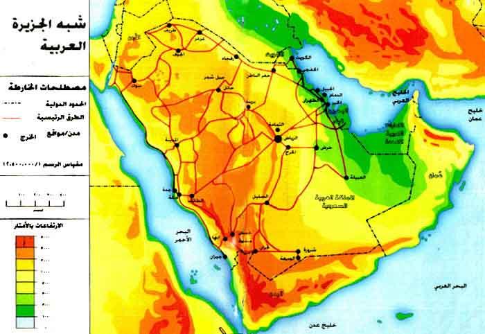 خريطة شبه الجزيرة العربية قديما