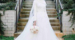صور اجمل فستان زفاف في العالم للمحجبات , اكتمال الحجاب بفستان زفاف