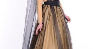 صور فساتين سهرة للمحجبات اسود وذهبي , حجاب كامل مع فستان سهره روعه